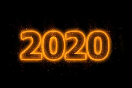 New Year concept 2020 with orange neon. 版權商用圖片
