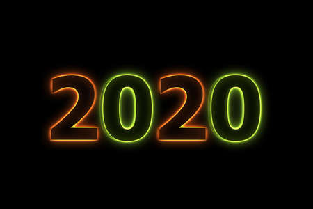 New Year concept 2020 with color neon.