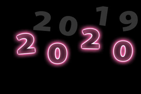 New Year concept 2020 with pink neon. 版權商用圖片