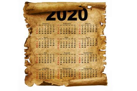 Calendar year 2020 on old paper on a white background. Week starts on Sunday. 版權商用圖片