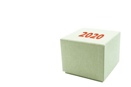 Gift box 2020 isolated on a white background.