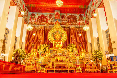 One landmark of Wat Chana Songkhram Ratchaworamahaviharn in Bangkok, Thailand. A place everyone in every religion can be viewed.