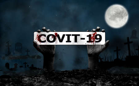 Halloween Covit-19 Concept with hand rising from the ground in the cemetery, moon, castle, tee, owl and bats in Fantasy Night. Banco de Imagens