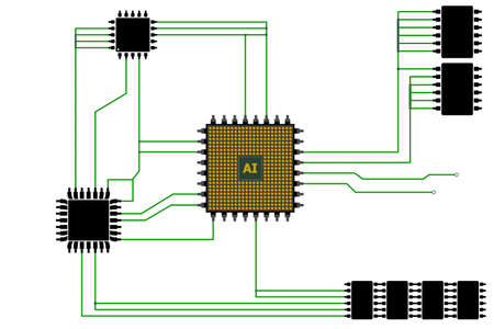 Abstract CPU chip with circuit board connection.