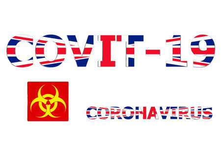 3D Flag of United Kingdom on a Covit-19 text background. Banco de Imagens