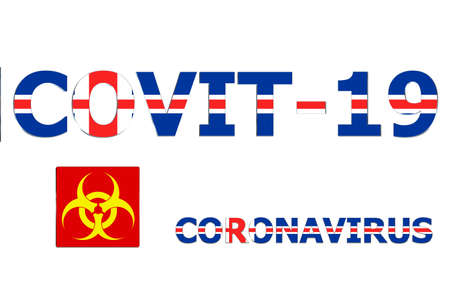 3D Flag of Iceland on a Covit-19 text background.