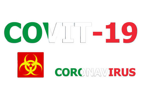 3D Flag of Italy on a Covit-19 text background.