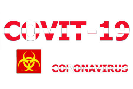 3D Flag of Denmark on a Covit-19 text background.
