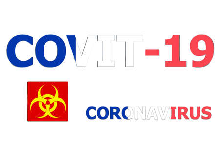 3D Flag of France on a Covit-19 text background.