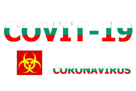 3D Flag of Bulgaria on a Covit-19 text background.