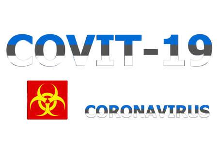 3D Flag of Estonia on a Covit-19 text background. Banco de Imagens