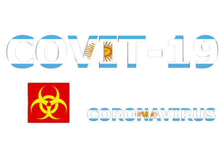 3D Flag of Argentina on a Covit-19 text background.