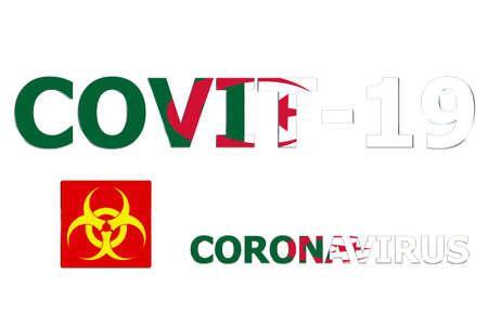 3D Flag of Algeria on a Covit-19 text background. Banco de Imagens