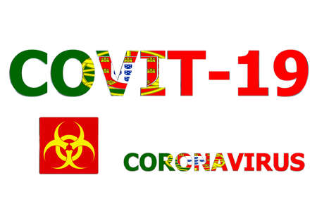 3D Flag of Portugal on a Covit-19 text background.