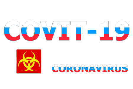 3D Flag of Russia on a Covit-19 text background.