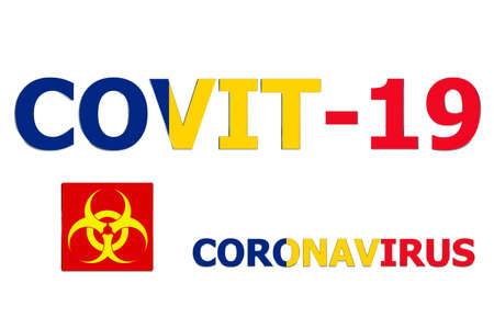 3D Flag of Romania on Covit-19 text background.