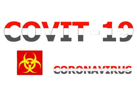 3D Flag of Yemen on a Covit-19 text background. Banco de Imagens