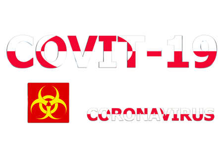 3D Flag of Greenland on Covit-19 text background. Banco de Imagens