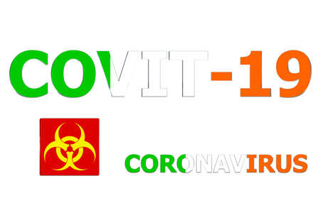 3D Flag of Ireland on a Covit-19 text background.