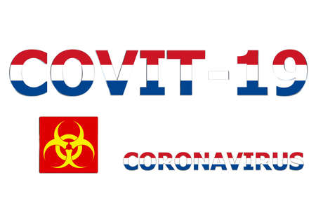 3D Flag of Netherland on Covit-19 text background.