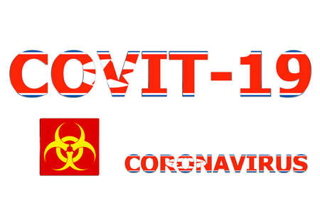 3D Flag of North Korea on a Covit-19 text background.