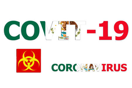3D Flag of Mexico on a Covit-19 text background.