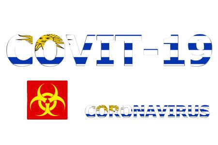 3D Flag of Uruguay on a Covit-19 text background. Banco de Imagens