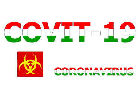 3D Flag of Hungary on a Covit-19 text background.