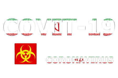 3D Flag of Iran on a Covit-19 text background. Banco de Imagens