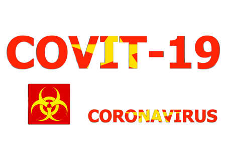 3D Flag of Vietnam on a Covit-19 text background.