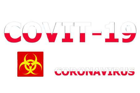 3D Flag of Poland on Covit-19 text background. Banco de Imagens