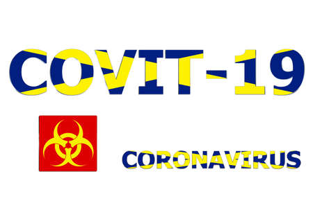 3D Flag of Scotland on a Covit-19 text background.