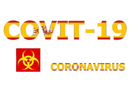 3D Flag of Spain on a Covit-19 text background.