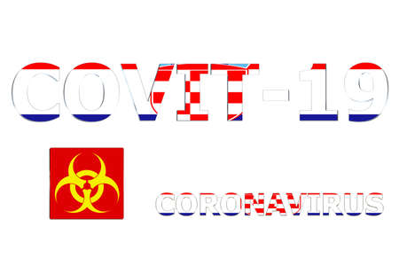 3D Flag of Croatia on a Covit-19 text background.