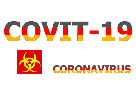 3D Flag of Germany on a Covit-19 text background.