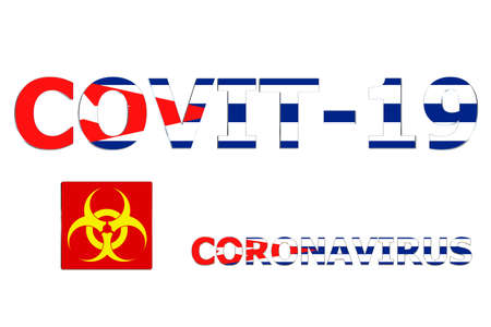 3D Flag of Cuba on a Covit-19 text background.