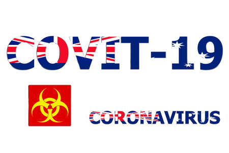 3D Flag of Australia on a Covit-19 text background.