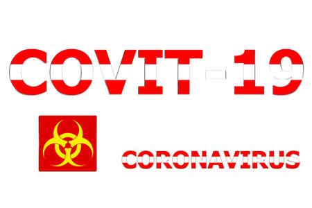 3D Flag of Austria on a Covit-19 text background. Banco de Imagens