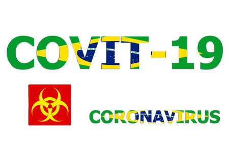 3D Flag of Brazil on a Covit-19 text background.