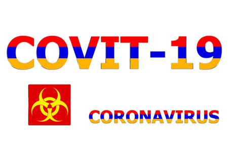 3D Flag of Armenia on a Covit-19 text background. Banco de Imagens