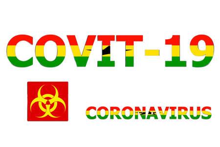 3D Flag of Ghana on a Covit-19 text background.
