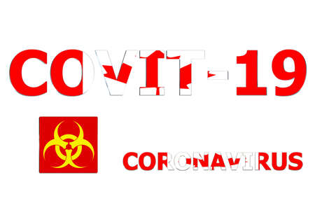 3D Flag of Canada on a Covit-19 text background.