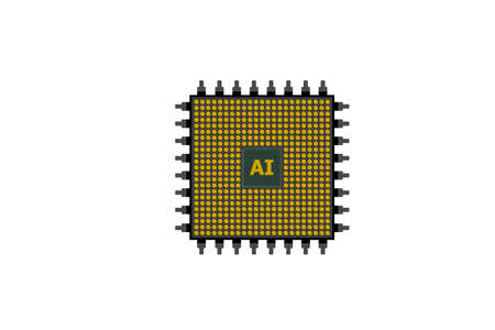 Abstract CPU chip isolated on white background. Banco de Imagens