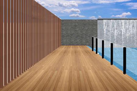 The modern courtyard. 3D design concept. Stock Photo