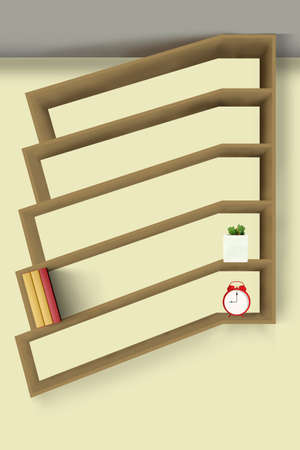 The wooden shelf for books and belongings. 3D design concept.
