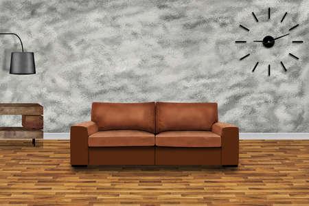 The modern living room. 3D design concept.