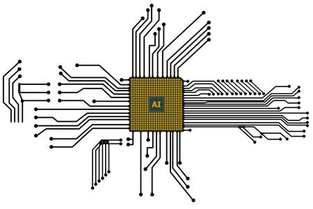 Abstract CPU chip with circuit board connection. Banco de Imagens - 155419081
