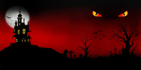 Halloween night background with moon, castle, tree, bats and eye in Fantasy Night. Banco de Imagens