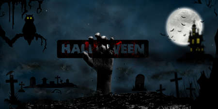 Halloween Concept with hand rising from the ground in the cemetery, moon, castle, tee, owl and bats in Fantasy Night. Banco de Imagens
