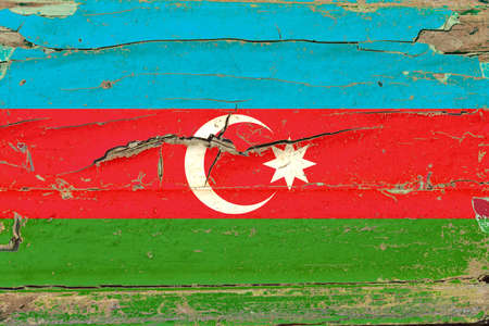 3D Flag of Azerbaijan on a old wood wall background.